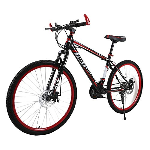 cobcob Mountain Bike, 21 Speed 26 inch Full Dual-Suspension Mountain Bike Bicycle Outdoor Cycling Lightweight Aluminum for Men/Women-Multiple Colors Dual Disc Brakes (Red)