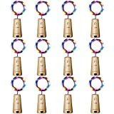 Aluan Wine Bottle Lights 12 Pack 20LED Cork Bottle Lights with Screwdriver Battery Operated Wine Cork Lights String Lights for Party Wedding Christmas Halloween Bar Jar Lamp Decor, Colorful