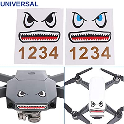 Drone Face Lift, 2 x sticker with shark design, suitable for drones for example DJI Mavic 2 Pro, DJI Mavic 2 Zoom, DJI Mavic Air and DJI Mavic Mini, body kit drone, 3M adhesive, skin warp sticker