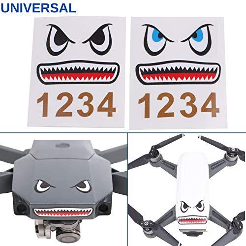 Your Day Mate Drohnen Face Lift, 2X Sticker mit Hai Design, geeignet für Drohnen von zum Beispiel DJI Mavic Pro, DJI Mavic Air und DJI Mavic Spark, Sticker Facelift, Klebstoff von 3M, Body Kit Drohne
