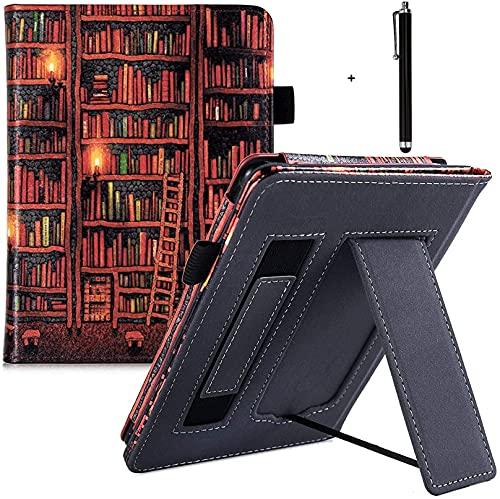 CCOO Capa de suporte para Kindle Paperwhite 10ª geração lançamentos de 2018/todas as versões Paperwhite - Capa protetora premium com compartimento para cartão e alça de mão, caneta sensível ao toque, biblioteca