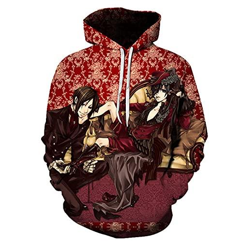 ZOSUO Sudadera con capucha para hombre y mujer, diseño de mayordomo negro con estampado 3D Sebastian Michaelis Cosplay con capucha de manga larga, suave, acogedor, rojo, XL