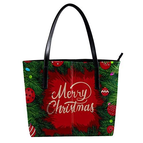 LORVIES Weihnachts-Bilderrahmen mit Zweigen aus PU-Leder und Handtasche für Damen