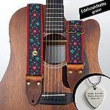 Steyner  Premium Gitarrengurt Bassgurt | Jacquard gewebt | Blumen Muster | Tracht gemustert | bunt verziert | Ornamente | verstellbar Plektrum Kette gratis | Akustikgitarre, E-Gitarre