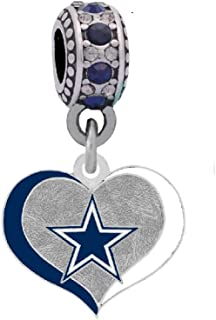 JuulSky NFL Football Charms for Bracelets with Connector Necklaces Silver Plated European Bead Charm