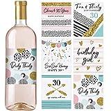 Weinflaschen-Etiketten zum 30. Geburtstag, Set mit 6 wasserdichten Etiketten, Geburtstagsgeschenke für sie, Partydekoration, Ideen und Zubehör