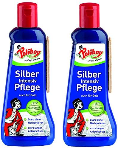 Poliboy - Silber Intensiv Pflege - zur Reinigung und Pflege für echtes Silber, Versilbertes und Gold - mit Quellschwamm - 2er Pack - 2x200ml - Made in Germany