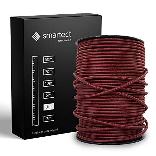 smartect Textilkabel Bordeaux - 3 Meter Vintage Lampenkabel aus Textil - 3-Adrig (3 x 0.75 mm²) - Stoffummanteltes Stromkabel für DIY Projekt
