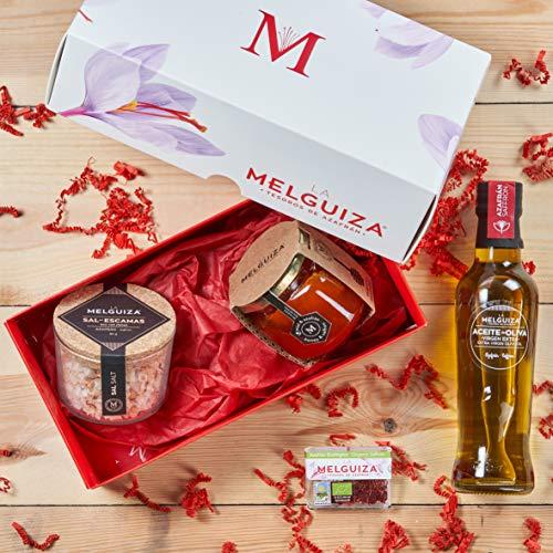 Lote Cesta Regalo Gourmet Sal en Escamas (80 gr), Aceite de Oliva Virgen Extra (250 ml), Miel de Azahar (250 gr) y Auténtico Azafrán en Hebras Puro Premium (0,50 gr)