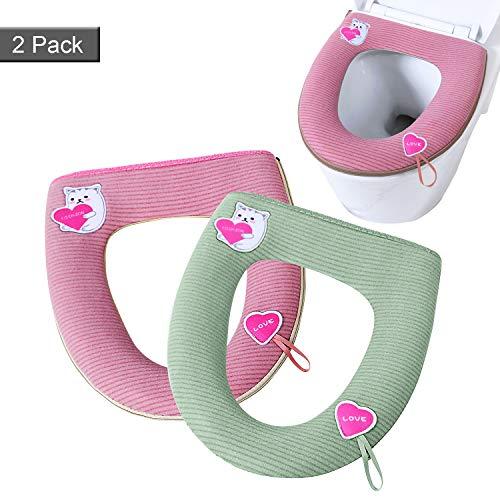 JEEZAO 2 Pezzi Universale Coprisedile per WC, Copriwater in Tessuto Lussuoso con Cerniera, Squisito Motivo a Cartone Animato,Lavabile in Lavatrice (Amore Verde + Rosa)