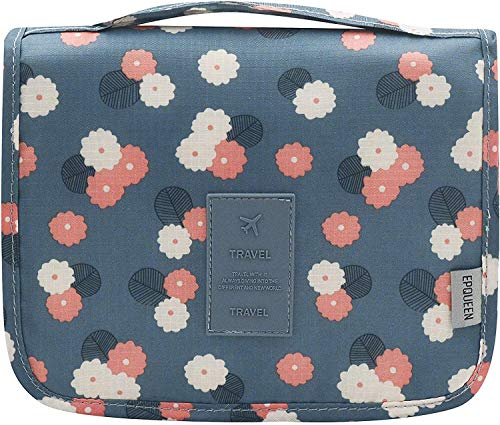 Hanging Travel Toiletry Bag Cosmetic Make up Organizer (Blue Flower2)