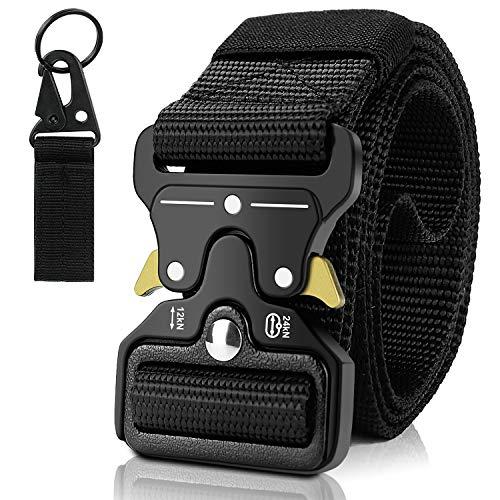 DYFFLE Taktischer Gürtel - Nylon Tactical Belt mit 1 Schlüsselhaken, Geschenk für Männer, Schnellverschluss Metallschnalle Arbeitsgürtel Herren, Koppelgürtel für Rettungsdienst, Freizeit, Outdoor