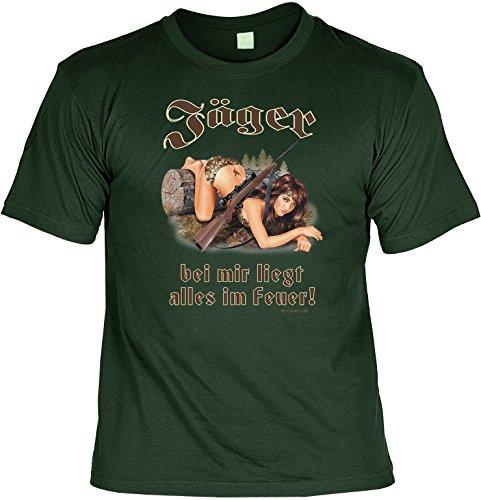Jäger Sprüche-Shirt - lustiges T-Shirt - Motiv Jagdsport/Jagd : Jäger - bei Mir liegt Alles im Feuer! - Zubehör Bekleidung Jagdfan/Geschenk Shirt Gr: 3XL