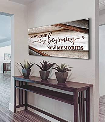 Sense Of Art | New Home New Beginning Quote | Wooden Framed Canvas | Ready to Hang Wall Art for Home Decoration from Sense Of Art