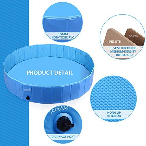 Pecute Piscina Perros y Gatos Bañera Plegable PVC Antideslizante y Resistente al Desgaste,Regalo: Adaptador de Salida de Agua, Adecuado para Interior Exterior al Aire(XL:160cm*30cm)