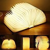 Yuanj Libro Lámpara LED, Luces Plegables de Madera 360°, USB Recargable, Portátil, Luz Lectura/Decorativa, Luz de Nocturna LED magnética, Lámpara de Mesita de Noche (M)