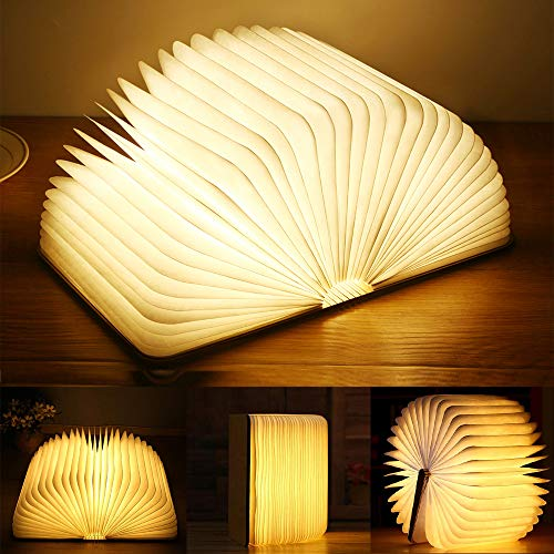 Yuanj Libro Lámpara LED, Luces Plegables de Madera 360°, USB Recargable, Portátil, Luz...