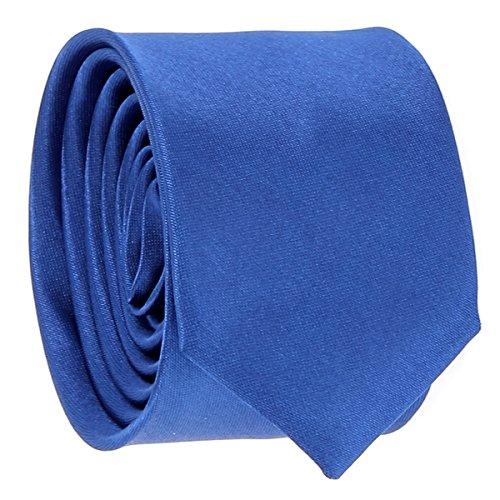 Cravate Fine Bleu roi - Cravate Homme Coupe Slim Moderne - 5cm à la Pointe - Couleur Unie - Accessoire Chemise pour Mariage, Cérémonie