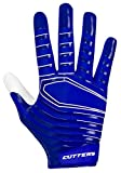 Cutters Rev Pro Ultra Grip Football Wide Receiver Gloves, Youth and Adult Size No Slip High Tack, 1 Pair S252 3.0 Protective Gear, Royal, Adult: X-Large