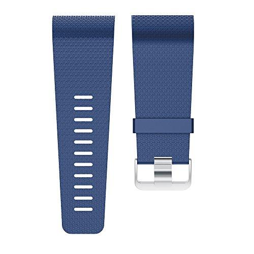 XIHAMA Ersatzarmband für Fitbit Surge Fitness-Tracker aus TPE aus Silikon mit klassischer Edelstahl-Schnalle und gleicher Farbe Befestigungsring für Fitbit Surge Activity Tracker