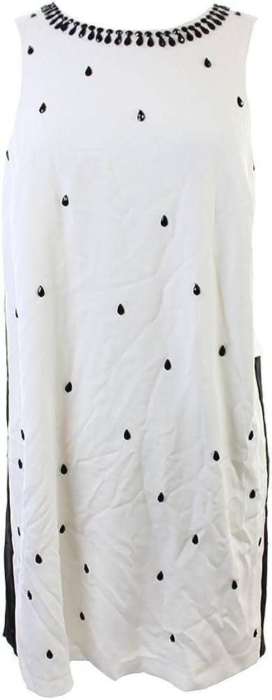 kensie Women's Beaded Colorblock Sleeveless Shift Dress