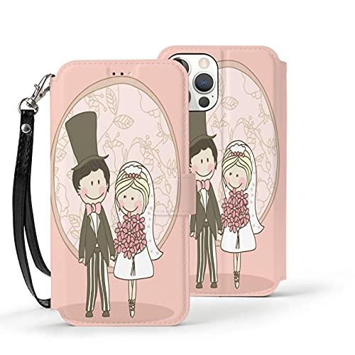 Funda para iPhone 12,Funda Tipo Cartera para iPhone 12 con Tarjetero,Traje de Boda romántico,Funda Protectora Interior de TPU a Prueba de Golpes para iPhone 12 de 6.1 Pulgadas