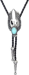 Bolo Tie Cowboy Neckties Leather Choker Necklace Vintage Turquoise Pendant for Women,Men