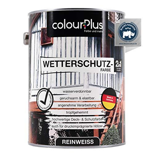 colourPlus® Wetterschutzfarbe 2,5L Reinweiß seidenglänzend - langzeitwetterbeständige Holzschutzfarbe aussen - farbbeständige Holzfarbe Reinweiß - Made in Germany