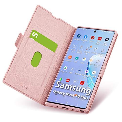 Aunote Samsung Galaxy Note 10 Plus Hülle, Samsung Note 10 Plus Schutzhülle mit Kartenfach, Handyhülle Tasche Leder Etui Folio, Flip Cover Hülle, PU TPU Komplettschutz Note10 Pro 5G 6.8 Phone Rosegold