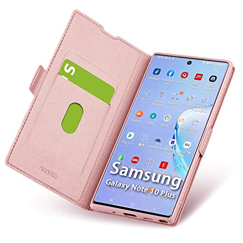 Aunote Samsung Galaxy Note 10 Plus Hülle, Samsung Note 10 Plus Schutzhülle mit Kartenfach, Handyhülle Tasche Leder Etui Folio, Flip Cover Case, PU TPU Komplettschutz Note10 Pro 5G 6.8 Phone Rosegold