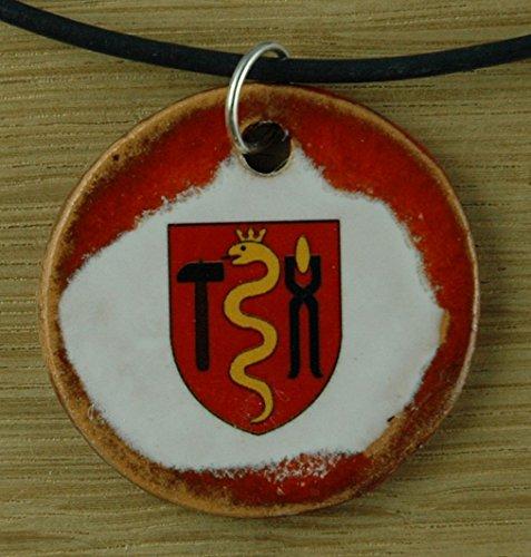 Echtes Kunsthandwerk: Schöner Keramik Anhänger mit dem Zunftzeichen Schmied; Hammer, Amboss, Handwerk, Zunft