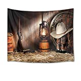 HVEST Cowboy Tapestry Vintage Boots Lantern and Gun on Straw in Rustic Wood Barn Wall Hanging American Western Culture Tapestries for Bedroom Living Room Dorm Party Wall Decor,92.5Wx70.9H inches