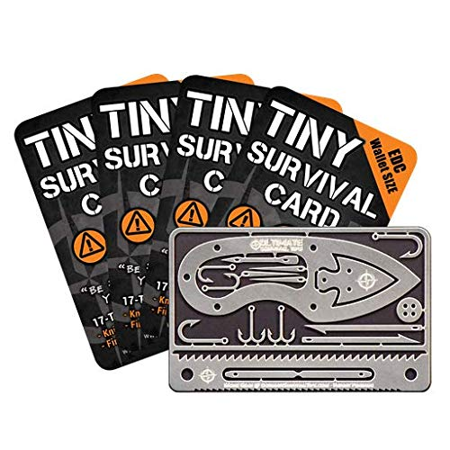 Tiny Survival Card: A 17-Tool Survival Kit with Knife That Fits in Your Wallet - Ultimate EDC, Multitool Card for Your Wallet - Great Gift! 5-Pack