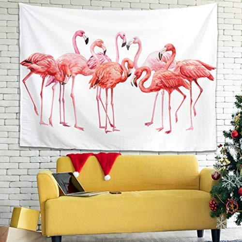 superyu Tapiz de flamenco hippie para colgar en la pared, con imágenes, arte natural, decoración para el hogar, decoración de dormitorio, color blanco, 200,7 x 149,9 cm