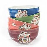 lachineuse 4 Bols Original Design Japonais - Chat Maneki Neko Porte Bonheur