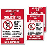SmartSign Absolutely No Soliciting Stickers, No Excuses No Exceptions Do Not Ring Bell Knock Decals Set, Pack of 3, One 3.75