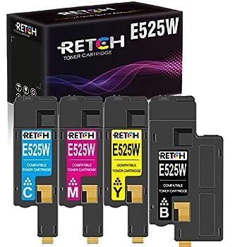 RETCH Compatible Toner Cartridge Tray Replacement for Dell E525w E525 525w 525 for E525w Wireless Color Printer for 593-BBJX 593-BBJU 593-BBJV 593-BBJW  1 Black 1 Cyan 1 Magenta 1 Yellow