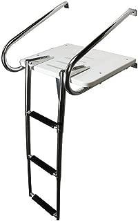 Outboard Platform Boat Ladder,Double Handle 3 Step Transom Outboard Inboard White Swim Ladder Under Mount Telescoping