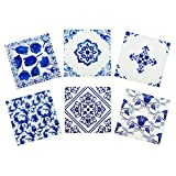 Delft Blue Ceramic Coasters for Drinks Set of 6 in Steel Holder-Farmhouse Style Absorbent Drink Coasters-Cork Coasters-Set of 6 Coasters That Absorb Moisture-Vintage Coasters (Blue and White Delft)