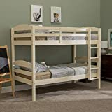 WE Furniture Wood Twin Bunk Kids Bed Bedroom with Guard Rail...