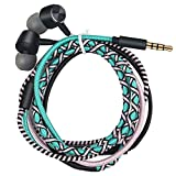 URIZONS Earbuds, in Ear Headphones with Microphone, Sports Headset for iPhone iPad iPod Mac Laptop Tablets Android Smartphones Handmade Fabric Braided Tribe Thread Wrapped Bracelet Style (Turquoise)