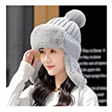 Beanie Hat, Womens Winter Knitted Beanie Hats with Faux Fur Pom Warm Knit Skull Cap Leifeng Cap with Ear Protection for Women,Gray