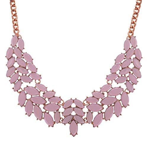 Romantic Time Cluster Leaf Pure Color Elegant Garland Princess Statement Necklace (Purple)