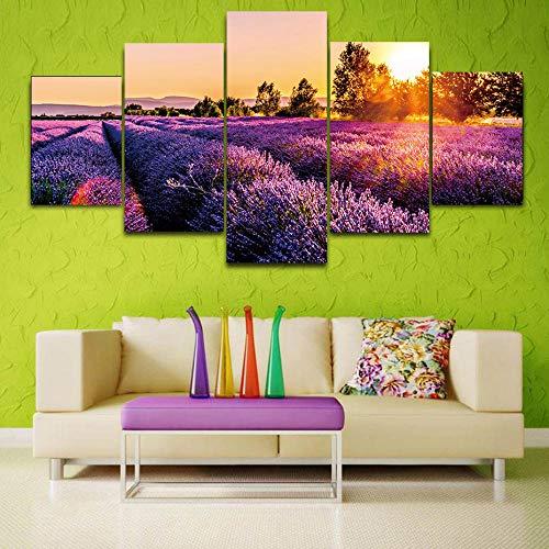 Generic 5 Stück Sonnenuntergang Drucke Poster Lavendel Leinwand Malerei Auf Der Wand Naturlandschaft Kunst Dekorative Bild Für Wohnzimmer Home