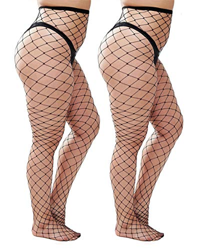 Womem's Sexy Black Fishnet Tights Plus Size Net Pantyhose Stockings (Black #2, Plus Size)