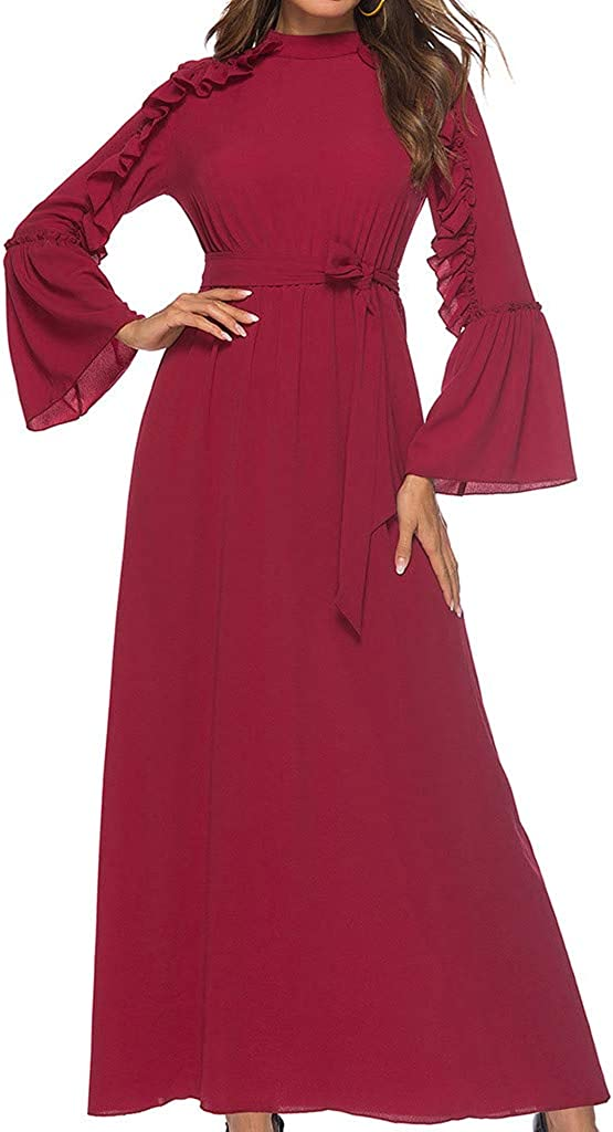 Women's Al sold out. Solid Ruffle Maxi Dress Dres O-Neck Lace-Up Long Sleeve Free Shipping Cheap Bargain Gift