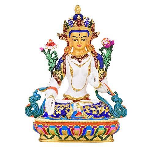LIMEIA WeißE Tara - Buddha Figur Deko, Messing skulptur, Statue des Tibetischen Buddhismus, Home Lucky Decoration, Symbol FüR Reichtum Und Langlebigkeit, Charakterdekoration, Figurensammlung