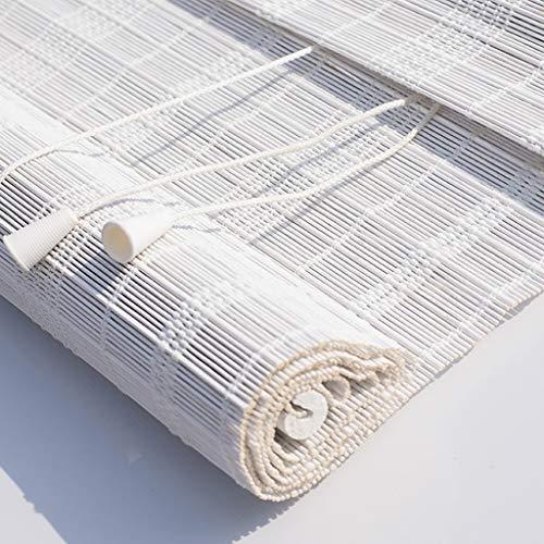 Persianas Rollos Arriba/Sombras De Bambú Blanco, Persianas Enrollables De Filtrado De Luz con Cenefa De 20 Cm Y Tirador Lateral para Ventanas Y Puertas (Tamaño : 60x120cm)
