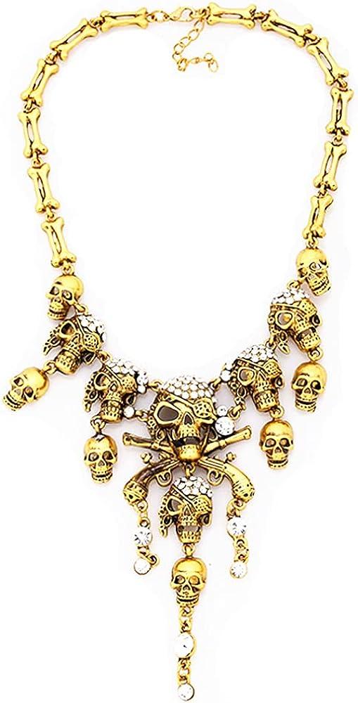 HSQYJ Retro Multilaye Skull Necklace Halloween Punk Gothic Skull Tassel Bone Chain Choker Statement Bib Collar Necklace Jewelry for Women Girl Gift