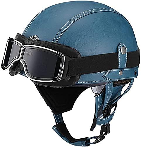 NZGMA ECE Casco de Motocicleta Retro - Casco de Cara Abierta de Cuero de Estilo Retro con Gafas Chopper Pilot Casco de ciclomotor para Hombres y Mujeres, Gafas de piloto Casco de ciclomotor de c